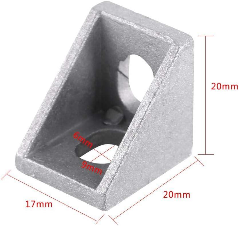 10Pcs L Forme De Coin Support En Alliage Daluminium Angle Droit Attache Dangle Brace 20x20mm