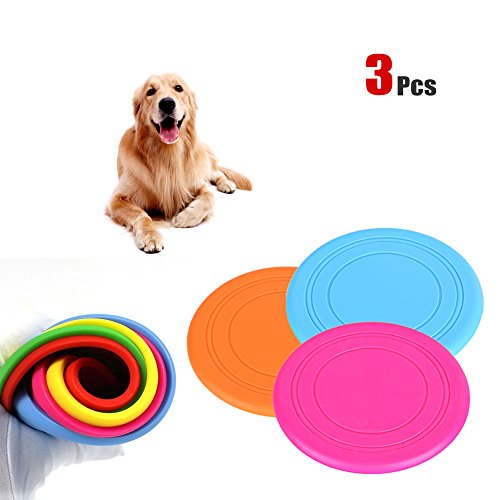 Yosoo 3 pcs 7'' Soft Silicone Flying Disc Toy Dog Chew Toys Tooth Resistant Outdoor Frisbee Training Fetch Toy