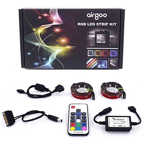 Super Bright Computer LED Strip Kit - Vibrant LED Computer Lighting LED Computer Lights - RGB Multi Color 2pcs 20inch LED Strip Light with Multi Function RF Remote for Desktop PC Computer Mid Tower by airgoo (Image #6)