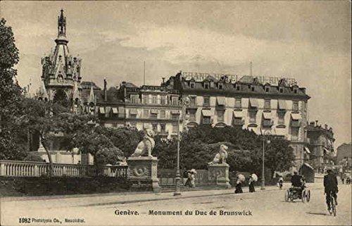 the Duke of Brunswick Geneva, Switzerland Original Vintage Postcard (Switzerland Geneve Monument)