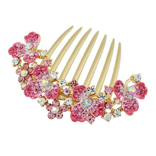 [dolly2u Elegant Women Hair Big Clip With Beautiful Jewelry Flower, Pink] (Ethnic Dance Costume)