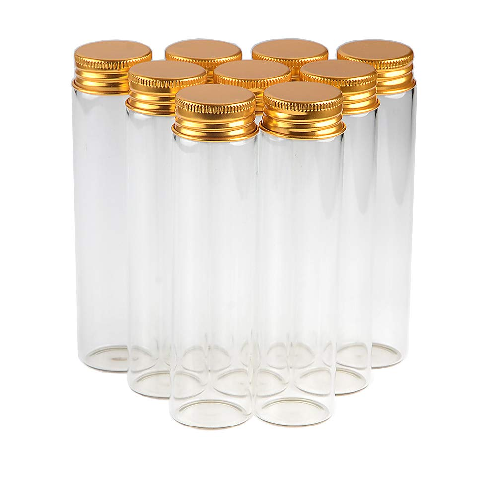60ml Empty Seal Jars Glass Bottle with Aluminium Gold Color Metal Screw Cap Sealed Liquid Food Gift Container (50, 60ML-Gold-Cap)