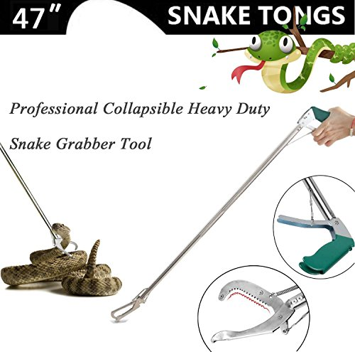 Josphine's Home 47 inch Professional Standard Snake Tongs, Extra Heavy Duty Reptile Grabber Stick Rattlesnake Catcher Handling Tool Trash Pick Up, Litter Picker with Zigzag Wide Jaw - Stainless (Loaded Snakes)