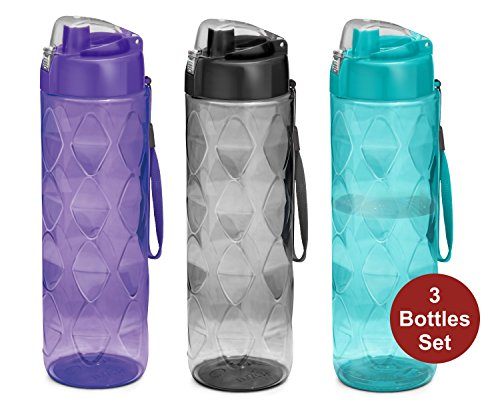 Sports Water bottle 3 pack -35 oz Large water bottle for Adults-Leakproof BPA-Free Wide-Mouth w/Strap Carry Handles For Men & Women Cycling Camping Gym Hiking Yoga Fitness ()