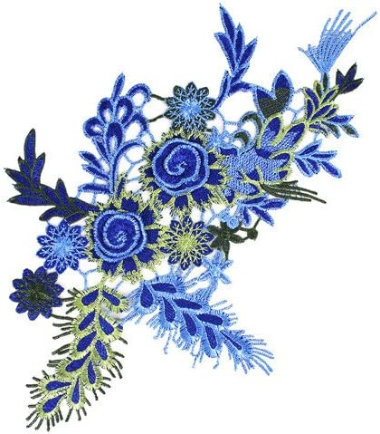 1pieces Embroidered Patches 3D Flower Applique DIY Sewing Repair Accessories Fabric Wedding Clothing Dress Floral Decorative Patches T2642 (blue) / 1pieces Embroidered Patches 3D Flower Applique DIY Sewing Repair Accessories Fabric...