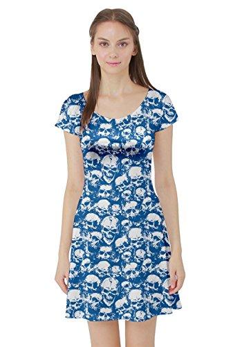 Sleeve Short Womens Skull Dress Grunge 5XL Sugar Floral Blue CowCow Grunge XS Skater YA1SWAH