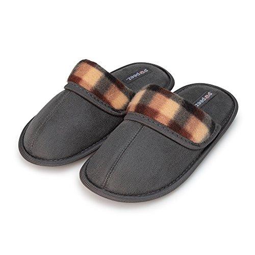 Pupeez Boys Scuff Slipper Plaid Trim Kids Classic Ultra Soft Comfort House Shoes