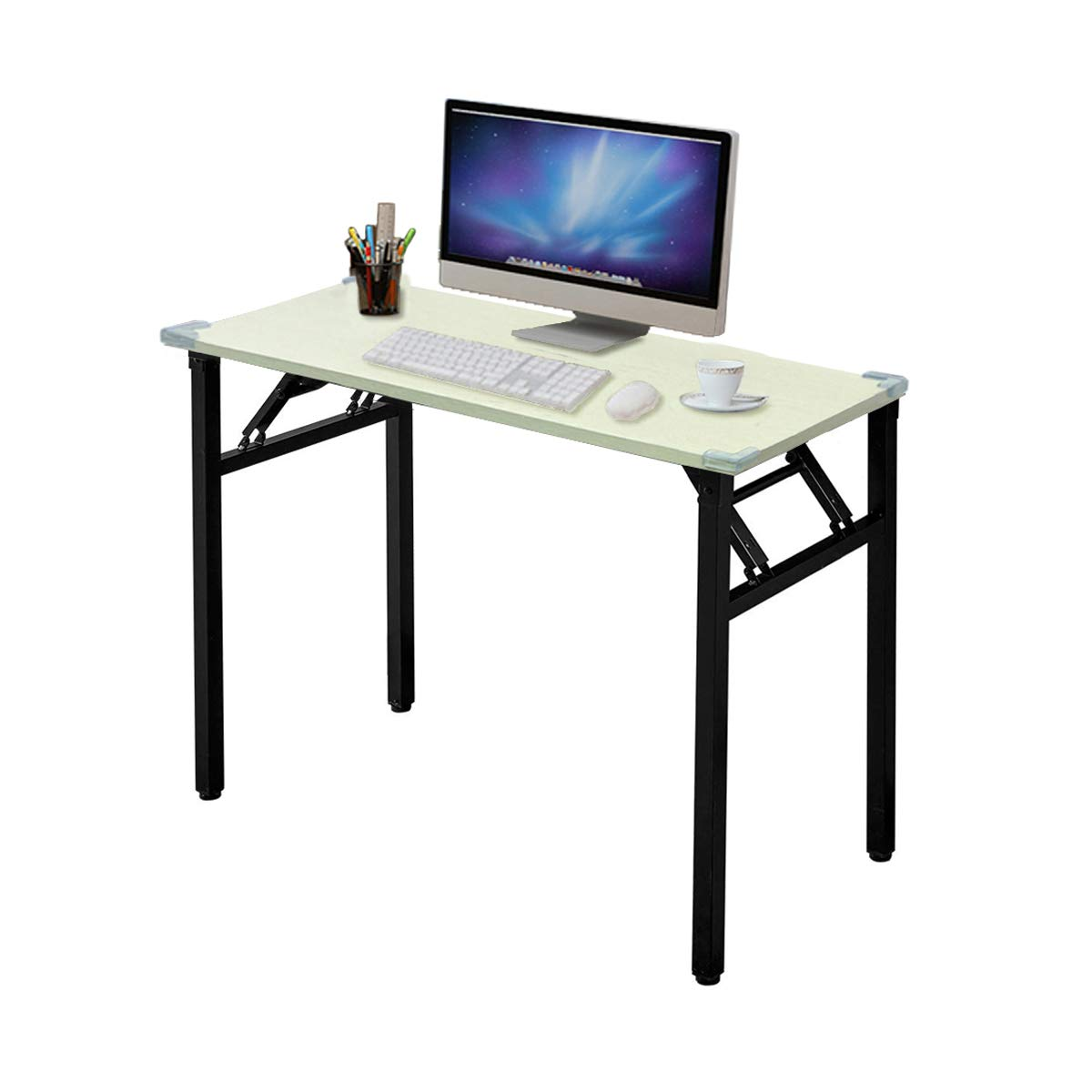 Exmott Foldable Computer Desk 31.5''x15.8''x29.5''(L x W x H) Home and Office Study Writing Desk Four Corner Protection Easy Storage and No Tools Required for Set Up(White Oak, 31.5'')