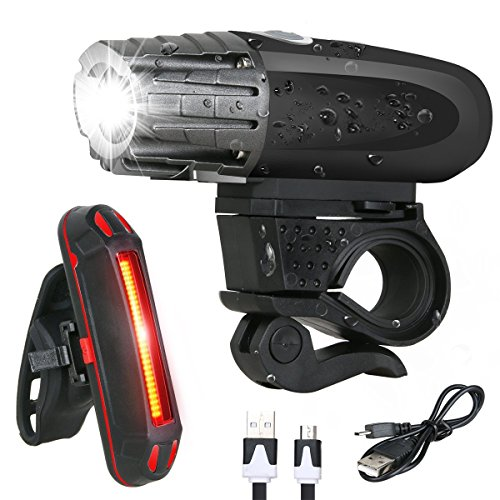 BESTSUN USB Rechargeable Bike Light Set, Super Bright Bike Headlight, Bike Front Lights and Back Safety Rear Flashlight, Easy Installation & IP65 Waterproof, for Kids Men Women Safe Cycling At Night