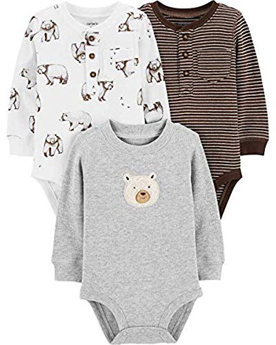 Baby Henley - Carter's Baby Boys' 3-Pack Long-Sleeve Bodysuits (Stripe/Brown Bears, 3 Months)