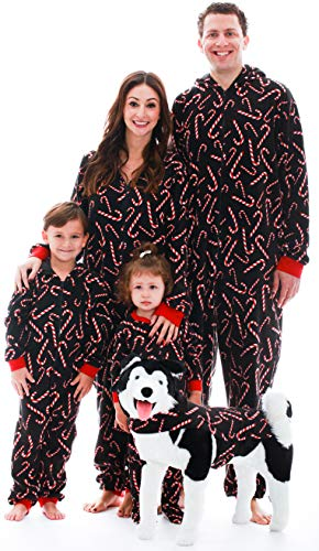 #followme Family Pajamas Candy Cane Microfleece Womens Adult Onesie 6755-10179-S