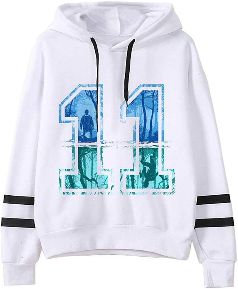 Sweat Stranger Things Ado Fille Eleven Sport Baseball Alphabet Sweat-Shirt a Capuche Femme Pullover Hoodie Sweat Shirt Fan de TV S/éries Pull Stranger Things Fille