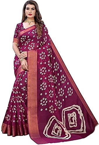 Printed Bandhani Cotton Blend Saree
