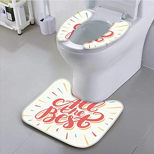 Philiphome Toilet Cushion Suit Party Decorations All The Best Greeting Card Inspired Wish Cute Colorful Coral Yellow Non Slip Comfortable