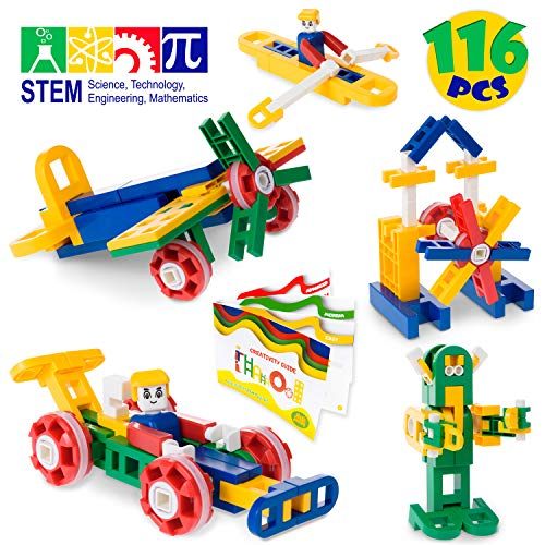 MagicJourney STEM Toys Engineering Set - Building Toys - Stem Learning Toys for Girls & Boys - Best Kids Gift Ages 4 5 6 7 8 9 10 Year-Old - Classroom Quality Building Blocks