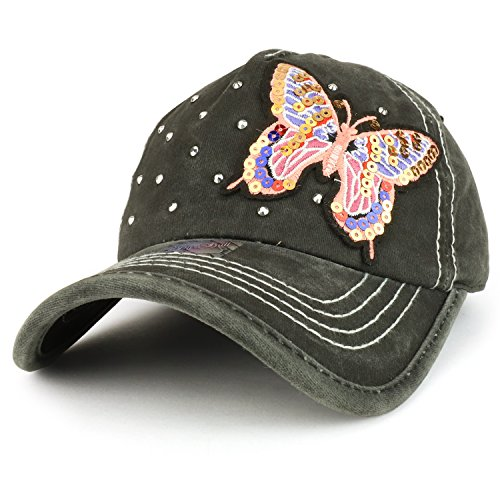 Trendy Apparel Shop Butterfly Embroidered Stitch Multi Color Baseball Cap - Charcoal Black ()