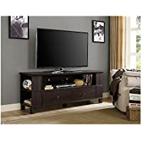 WE Furniture 60 Wood Storage TV Stand, Espresso