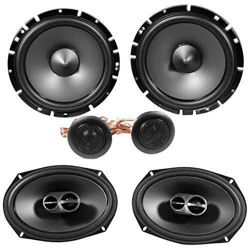 "Alpine SPS-619 6x9"" Coaxial Car Speakers+Alpine SPS-610C 6.5"" Component Speakers"