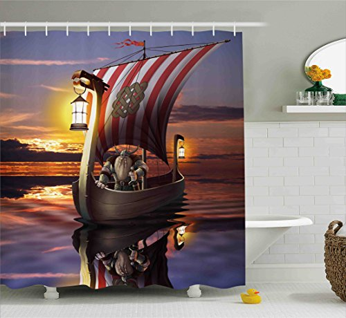 Viking Shower Curtain Set by Ambesonne, A Warrior with Sword and Helmet in Ship Evening Twilight Barbarian Nordic Scandinavian Print, Fabric Bathroom Decor with Hooks, 70 Inches, Multi