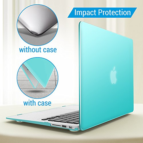 iBenzer Basic Soft-Touch Series Plastic Hard Case, Keyboard Cover, Screen Protector for Apple Macbook Air 13-inch 13'' A1369/1466, Aqua by iBenzer (Image #4)