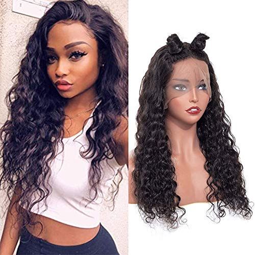ISEE Hair Water Wave Lace Front Wigs Unprocessed Brazilian Virgin Human Hair Wig Pre Plucked Natural with Baby Hair Wig for Black Women 150% Density (22 inch Lace Front Wig)
