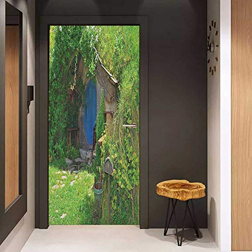 Soliciting Sticker for Door Hobbits Fantasy Hobbit Land House in Magical Overhill Woods Movie Scene New Zealand Mural Wallpaper W23.6 x H78.7 Green Brown Blue