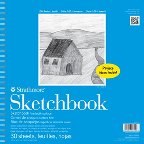 """Strathmore 100 Series Youth Sketchbook, 12""""x12"""" Spiral Bound, 30 Sheets"""