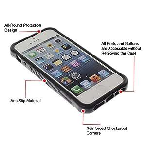 WAWU Funda Carcasa Bumper con Absorci??e Impactos y Anti-Ara??s Espalda Slim Rugged Armor -- brown lines frame blue minimalist -- Apple Iphone 5 / 5S