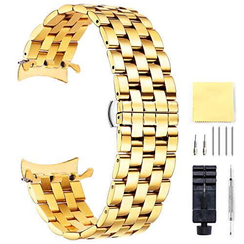 - Replacement Stainless Steel Watch Band Gold Quick Release Strap 12,14,16,18,19,20,21,22,24MM