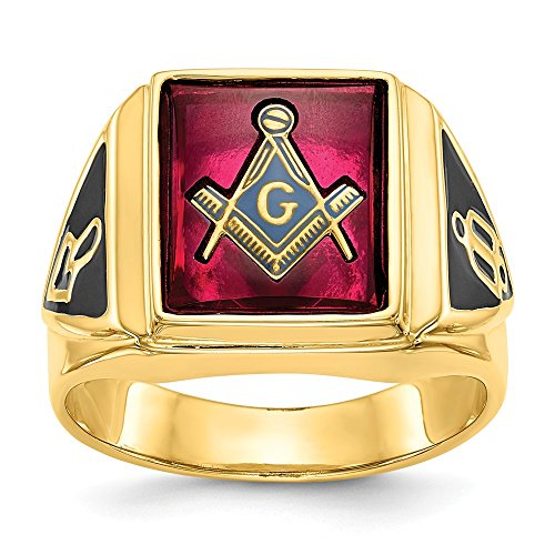 14k Yellow Gold Mens Synthetic Red Ruby Masonic Freemason Mason Band Ring Size 10.00 Man Fine Jewelry Gift For Dad Mens For Him ()