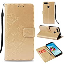 Ostop Huawei Y6 2018 Wallet Case,Huawei Honor 7A Flower PU Leather Case,Kickstand Card Holder Slots Magnetic Slim Flip Folio Cover Butterfly Floral Embossed Pattern,Gold