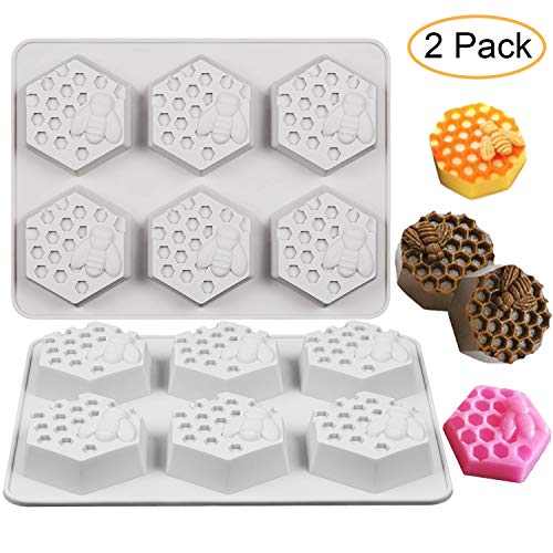 Fewo 2Pcs Bee Honeycomb Soap Molds, 3D Hexagon Honeycomb Cake Molds, Beehive Dessert Pan Candy Baking Handmade Chocolate Molds, Biscuit Muffin Baking Molds, Ice Cube Tray (6-Cavity, Gray) -