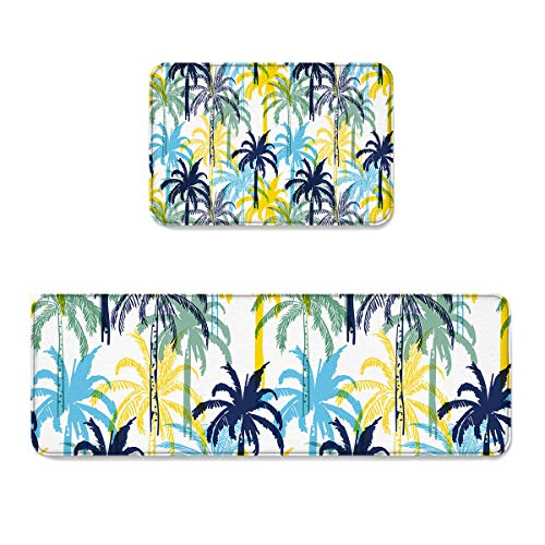 Set Palm Sunday (2 pcs Kitchen Mat Doormat Runner Rug Set, Kids Area Rug Bedroom Rug Non-Slip Rubber Backing Door Mats Tropical Coconut Palm Tree Dreamlike Summer Holiday Watercolors Picture, 15.7x23.6in +15.7x47.2in)
