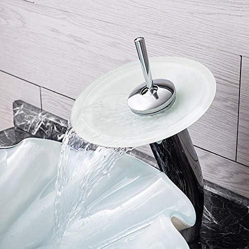 洗面化粧台シンク 浴室上記カウンター容器バニティシンクボウル強化ガラスロータスの形のデザイントップ洗面付きオイルラバーブロンズの蛇口、ポップアップドレイン 和風 洋風 お洒落な 節水 節約 (Color : White, Size : 43.5x43.5x15.5cm)