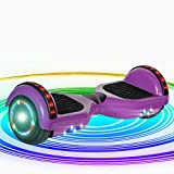 NHT Bluetooth Self Balancing Hoverboard Scooter with LED Lights and Speaker UL2272 Certified (Purple)