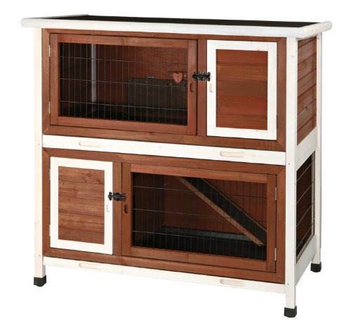 TRIXIE Pet Products 2-Story Rabbit Hutch, Medium, Brown White
