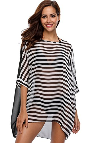 (ATTRACO Womens Striped Cover Up Chiffon Swimwear Bikini Swim Beachwear Swimsuit Black)