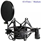 Etubby Universal Microphone Shock Mount Adjustable Anti Vibration High Isolation Metal Mic Holder with Double Mesh Pop Filter and Screw Adapter, Fits for Diameter of 43-47mm Microphone