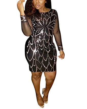 534e3e6d1b2 Sprifloral Sexy Glitter See Through Dresses for Women with Sleeve Bodycon  Sheath Mini Dress Silver US