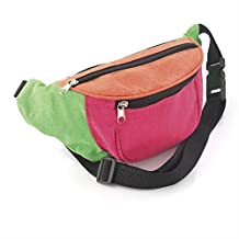 Multi Coloured Neon Fabric Hip Belt Bum Bag