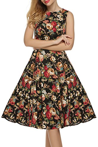 [ACEVOG Women's Vintage 1950's Sleeveless Floral Spring Garden Party Picnic Dress (3XL, Dark Apricot)] (Dark Apricot)