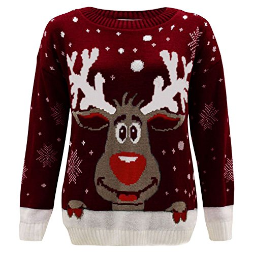 Pull Pull Longues Manches Femme Reindeer Wine Comfiestyle wat7q5w