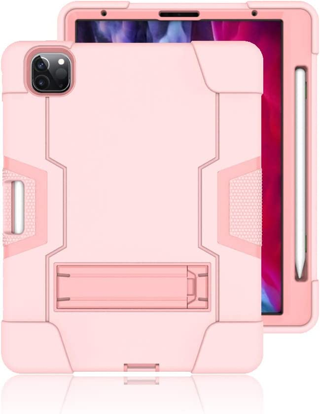 Azzsy iPad Pro 11 Case 2020 & 2018 with Pencil Holder [Support Apple Pencil Charging], Slim Heavy Duty Shockproof Rugged High Impact Full Body Protective Case (Rose Gold)