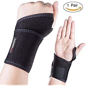 YOUNGDO Adjustable Wrist Support Brace Fits Tennis Basketball Badminton Cycling Gym Fitness Training and Sports, Relief Wrist Pain& Injuries, Prevents from Carpal Tunnel Tendonitis&Mouse hand, a Pair