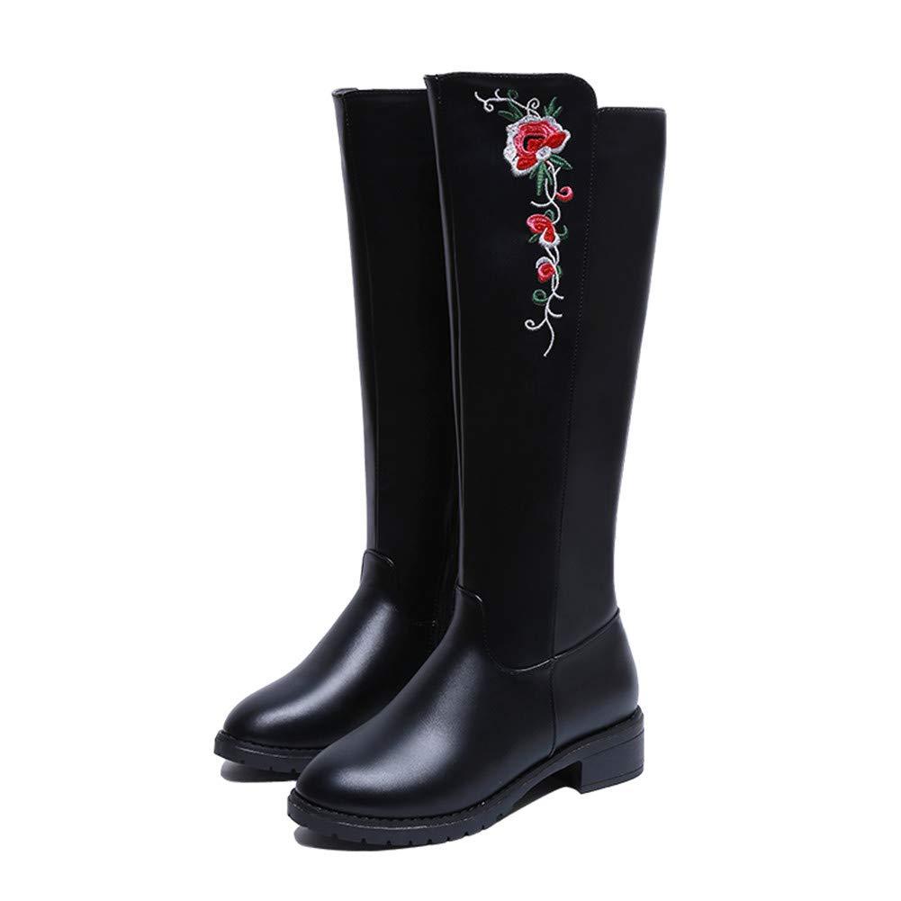 TQGOLD Botas de Agua Mujer Lluvia con Goma Altas Zapato Ajustable Cremallera y Hebilla Wellington Boots