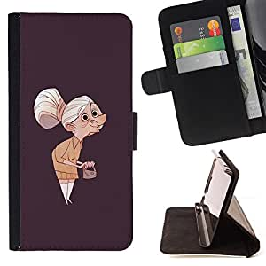 BullDog Case - FOR/Apple Iphone 5C / - / GRANNY OLD LADY PAINTING ART CLUTCH GREY HAIR /- Monedero de cuero de la PU Llevar cubierta de la caja con el ID Credit Card Slots Flip funda de cuer
