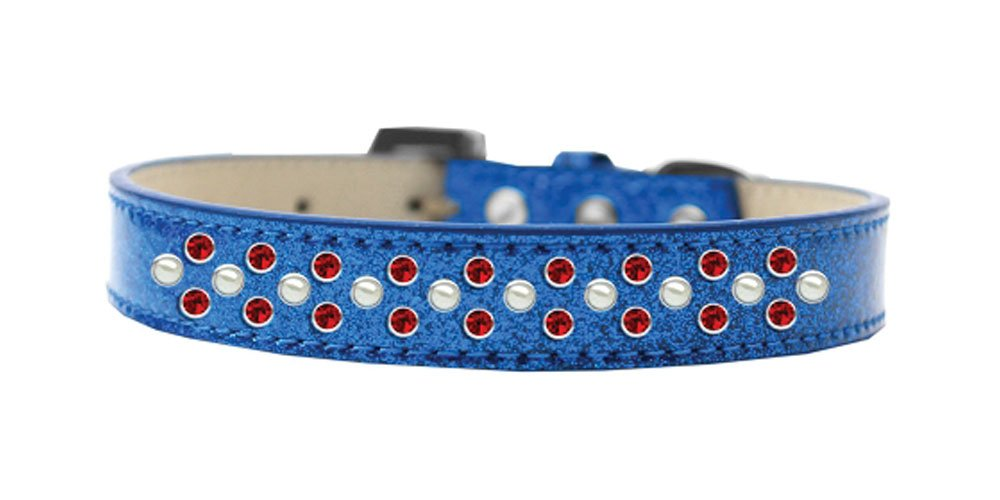bluee Size 18 bluee Size 18 Mirage Pet Products Sprinkles Ice Cream Dog Collar with Pearl and Red Crystals, Size 18, bluee