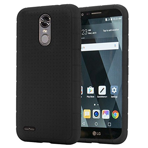 Cell Accessories For Less (TM) LG Stylo 3 LS777 LGL84VL - Rugged Silicone Skin Case Cover - Black Bundle (Stylus & Micro Cleaning Cloth) - By TheTargetBuys from Cell Accessories For Less (TM)