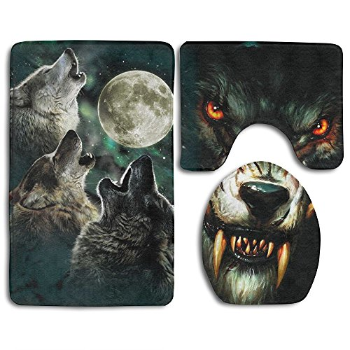 Wolf At Night Fashion Bath Mat Set 3 Pieces Indoor Decor Bat