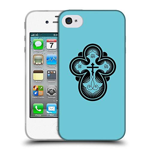GoGoMobile Coque de Protection TPU Silicone Case pour // Q07870627 Christian Cross 12 Cyan // Apple iPhone 4 4S 4G